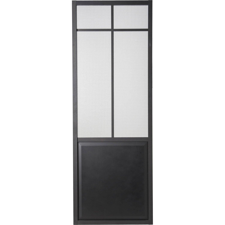 Porte coulissante laquée noir Work ARTENS, H.204 x l.73 cm