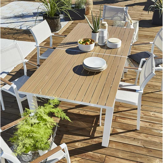 salon de jardin port torres blanc 6 personnes leroy merlin. Black Bedroom Furniture Sets. Home Design Ideas