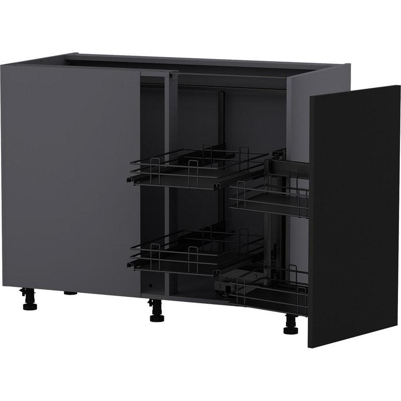 Meuble bas d 39 angle de cuisine sofia noir 1 porte h77xl106 - Modele cuisine equipee leroy merlin ...