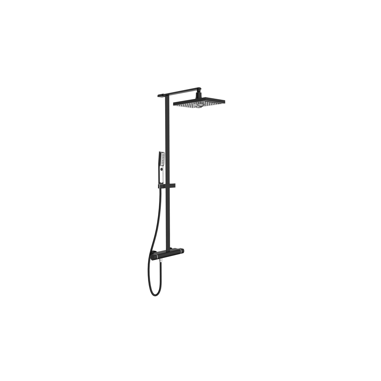 Colonne de douche et bain hydromassante avec robinetterie, noir, Neo