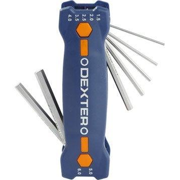Jeu de 7 clés 6 pans courte, 2, 2.5, 3, 4, 5, 6 et 8 mm DEXTER