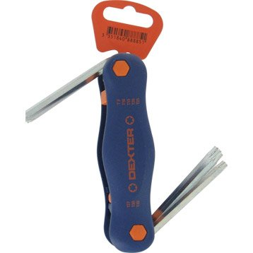 Jeu de 8 clés mâle torx courte, 2.5, 3, 3.5, 4, 5 et 6 mm DEXTER