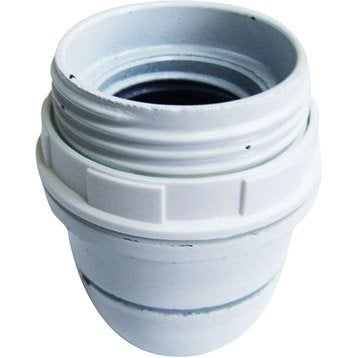 Douille 1/2 filetée E27 TIBELEC, plastique, blanc 60 W