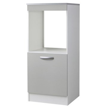 Meuble de cuisine colonne four porte gris aluminium h with for Porte 60 cm brico depot