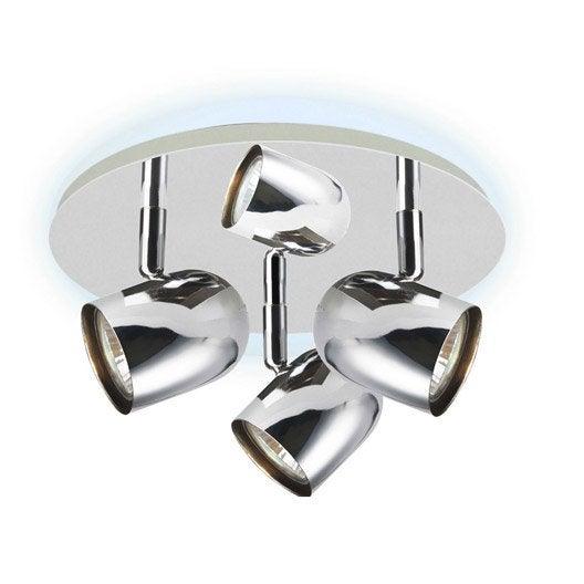 Plafonnier 3 spots halog ne 3 x gu10 chrome shyrka for Plafonnier cuisine leroy merlin
