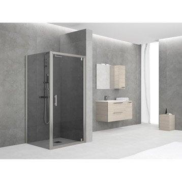 Porte de douche pivotante 84/90 cm profilé chromé, Elyt