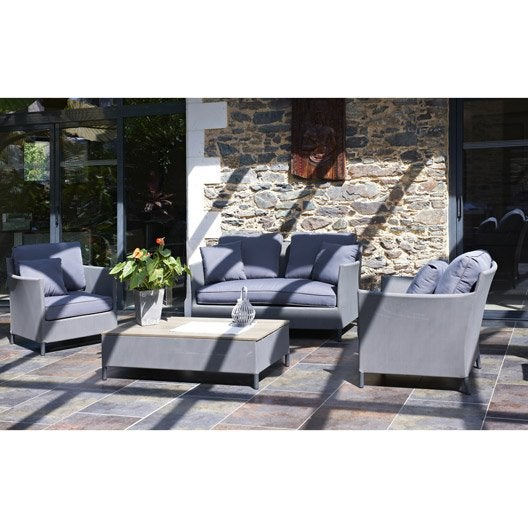 salon jardin riade textil ne gris 1 banquette 2 fauteuils 1 table basse leroy merlin. Black Bedroom Furniture Sets. Home Design Ideas