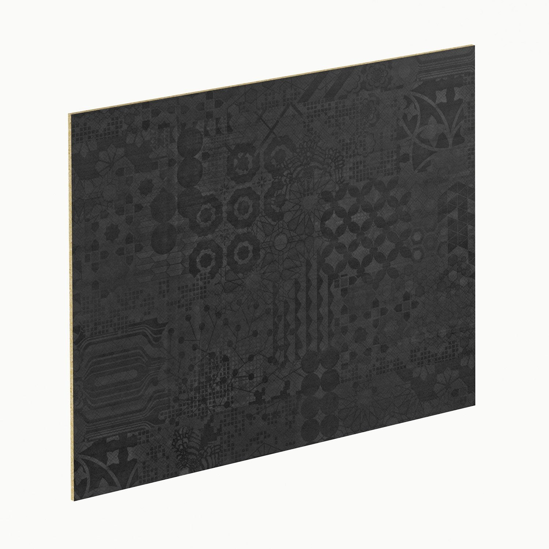 Crédence stratifié Geom noir / blanc H.64 cm x L.300 cm