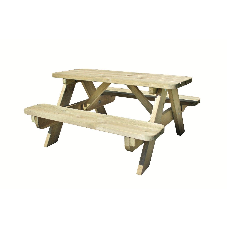 Table De Jardin Pour Enfants Foresti Re Rectangulaire Vert 4  ~ Maison En Bois Enfant Leroy Merlin