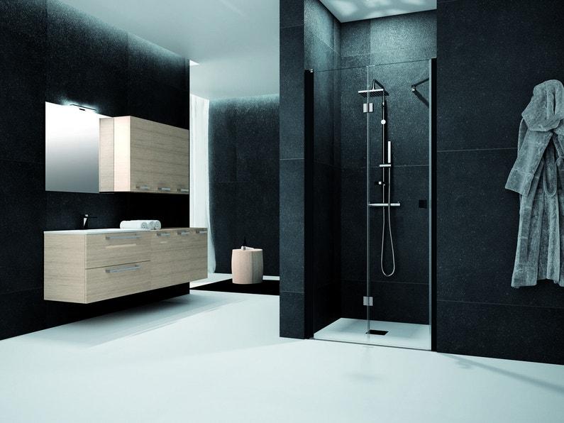 Une salle de bains moderne noire et bois avec son meuble for H s bains sons