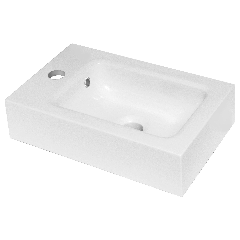 Lave Main Sur Wc Existant lave-mains résine rectangle blanc l.24 x p.9 cm, remix