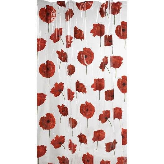 rideau de douche en plastique x cm rouge pavot sensea leroy merlin. Black Bedroom Furniture Sets. Home Design Ideas
