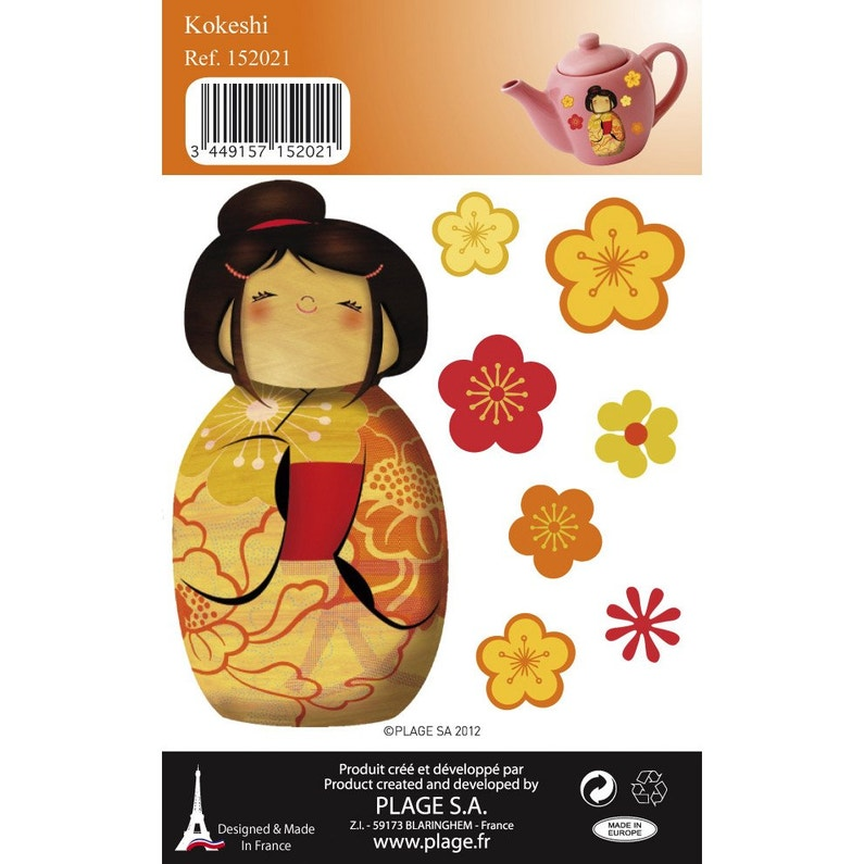Autocollants D Ef Bf Bdcoratifs Stickers Decoratifs Kokeshi 10 5 Cm X 11 Cm