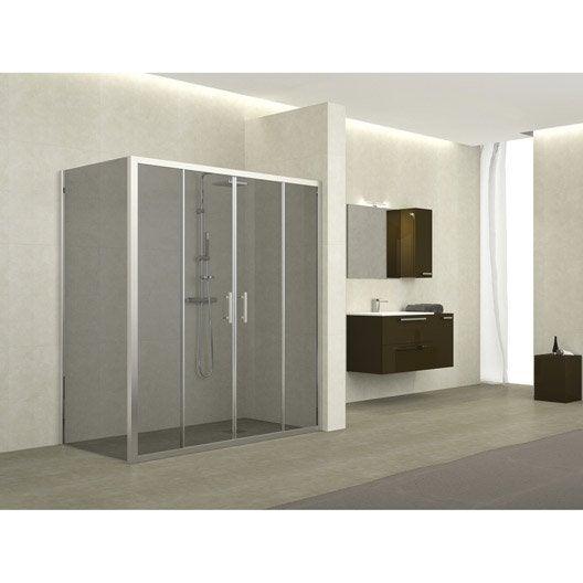 Porte de douche coulissante 164 170 cm profil chrom - Porte de douche hauteur 170 ...