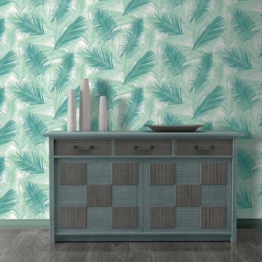 Papier peint intiss feuille de palme vert leroy merlin - Papier peint paysage leroy merlin ...