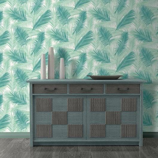 papier peint intiss feuille de palme vert leroy merlin. Black Bedroom Furniture Sets. Home Design Ideas