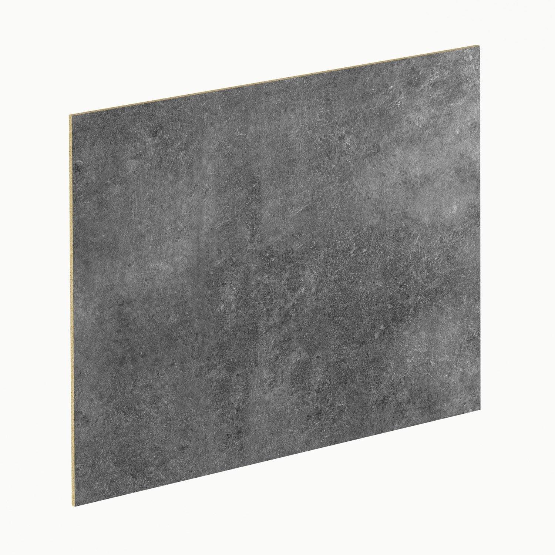 crédence stratifié blanc brillant / effet béton gris h.64 cm x l.300
