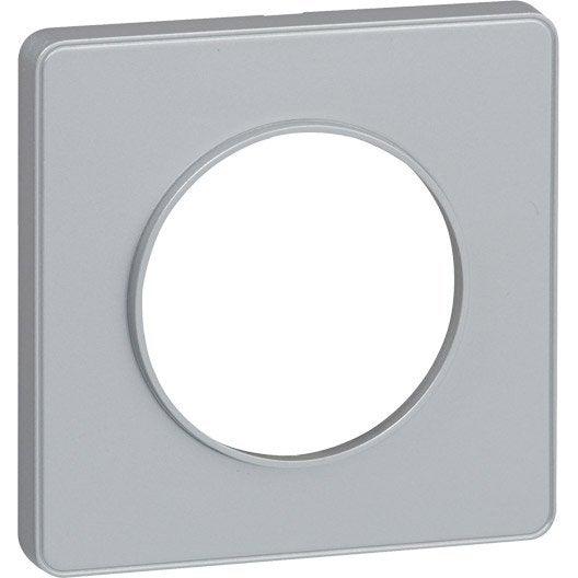 plaque simple odace schneider electric gris aluminium leroy merlin. Black Bedroom Furniture Sets. Home Design Ideas