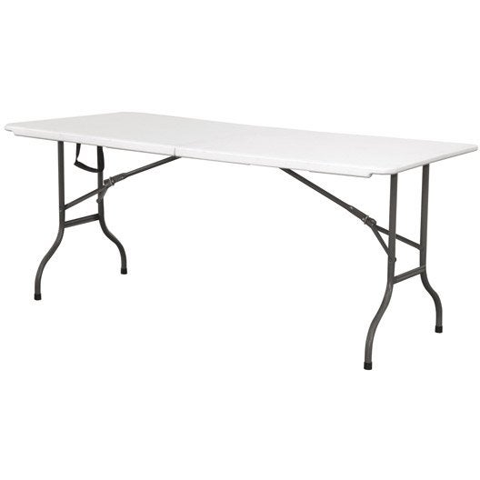 Table de jardin cantina rectangulaire blanc 6 8 personnes for Table de cuisine pliante leroy merlin