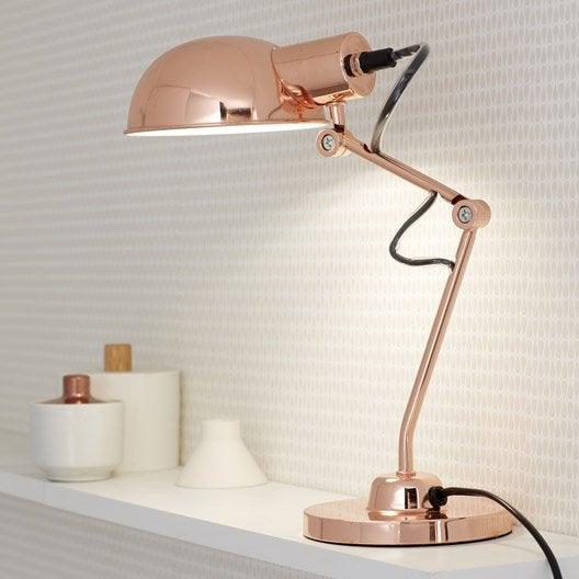 lampe de bureau poser cuivr tea leroy merlin. Black Bedroom Furniture Sets. Home Design Ideas