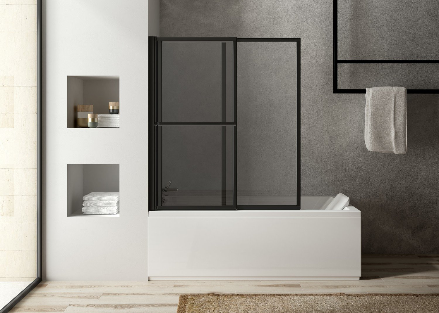 une paroi de douche transparente et lumineuse leroy merlin. Black Bedroom Furniture Sets. Home Design Ideas