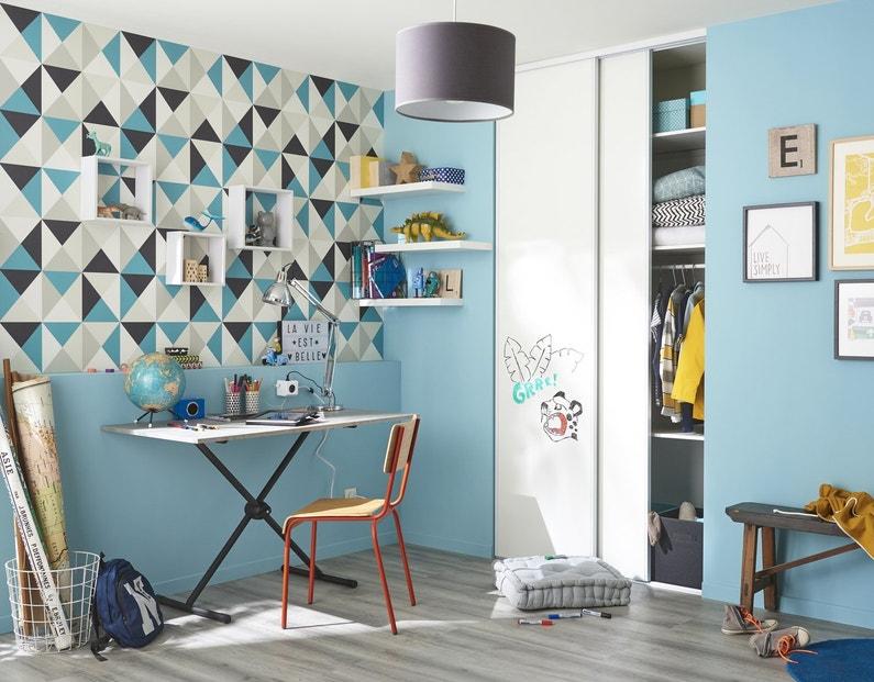 cr er un bureau avec un plateau de table et des tag res blanches leroy merlin. Black Bedroom Furniture Sets. Home Design Ideas