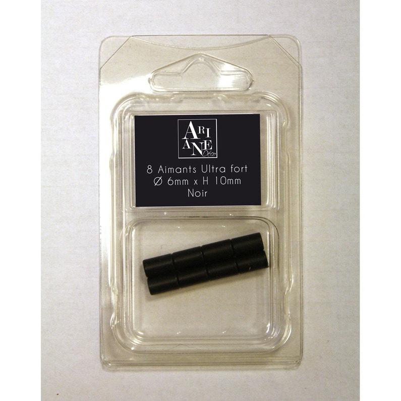 8 Aimants Neodymes Noir Diam 6 Mm X 10 Mm