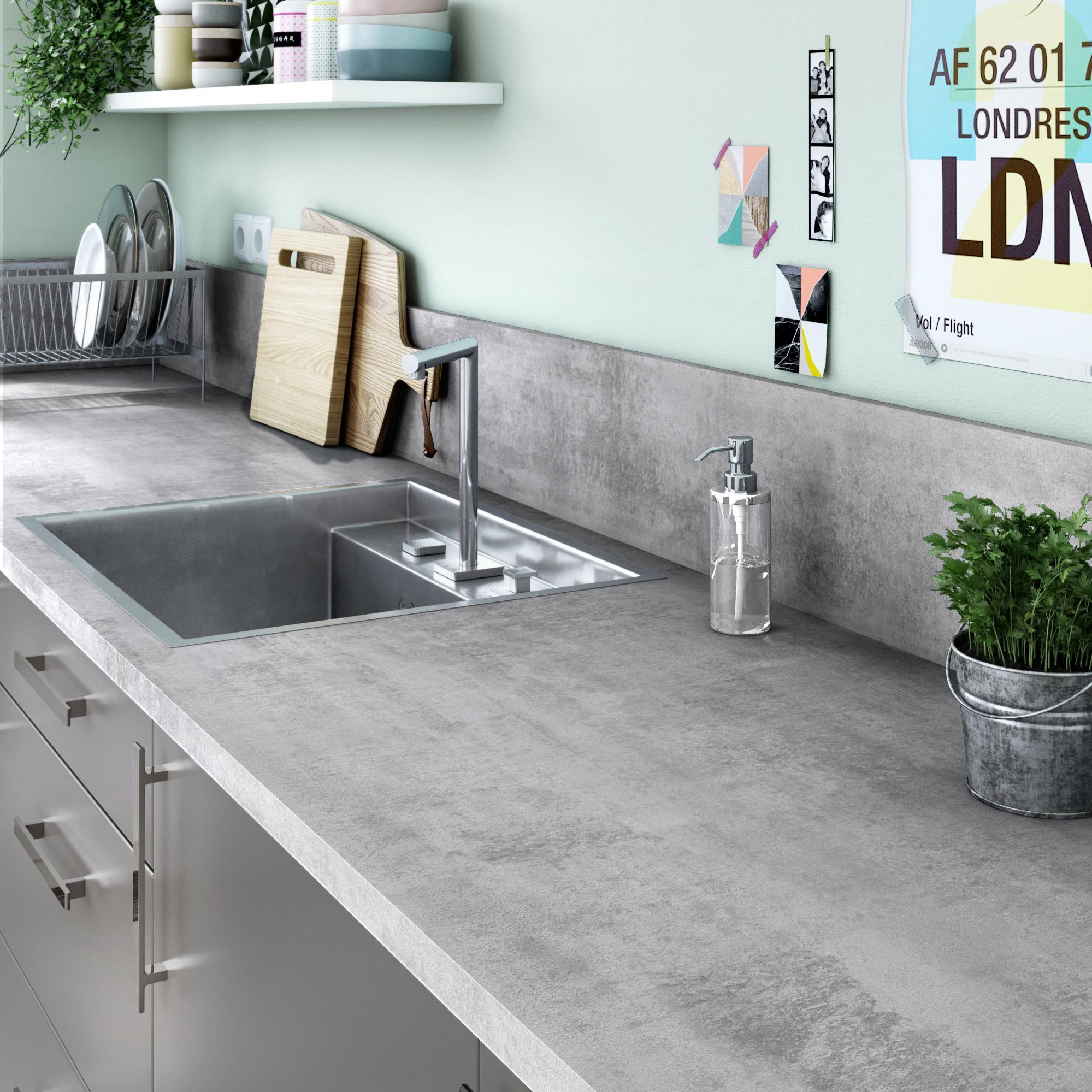 chant de crédence stratifié beton cire clair mat l.500, ep.0.7 mm
