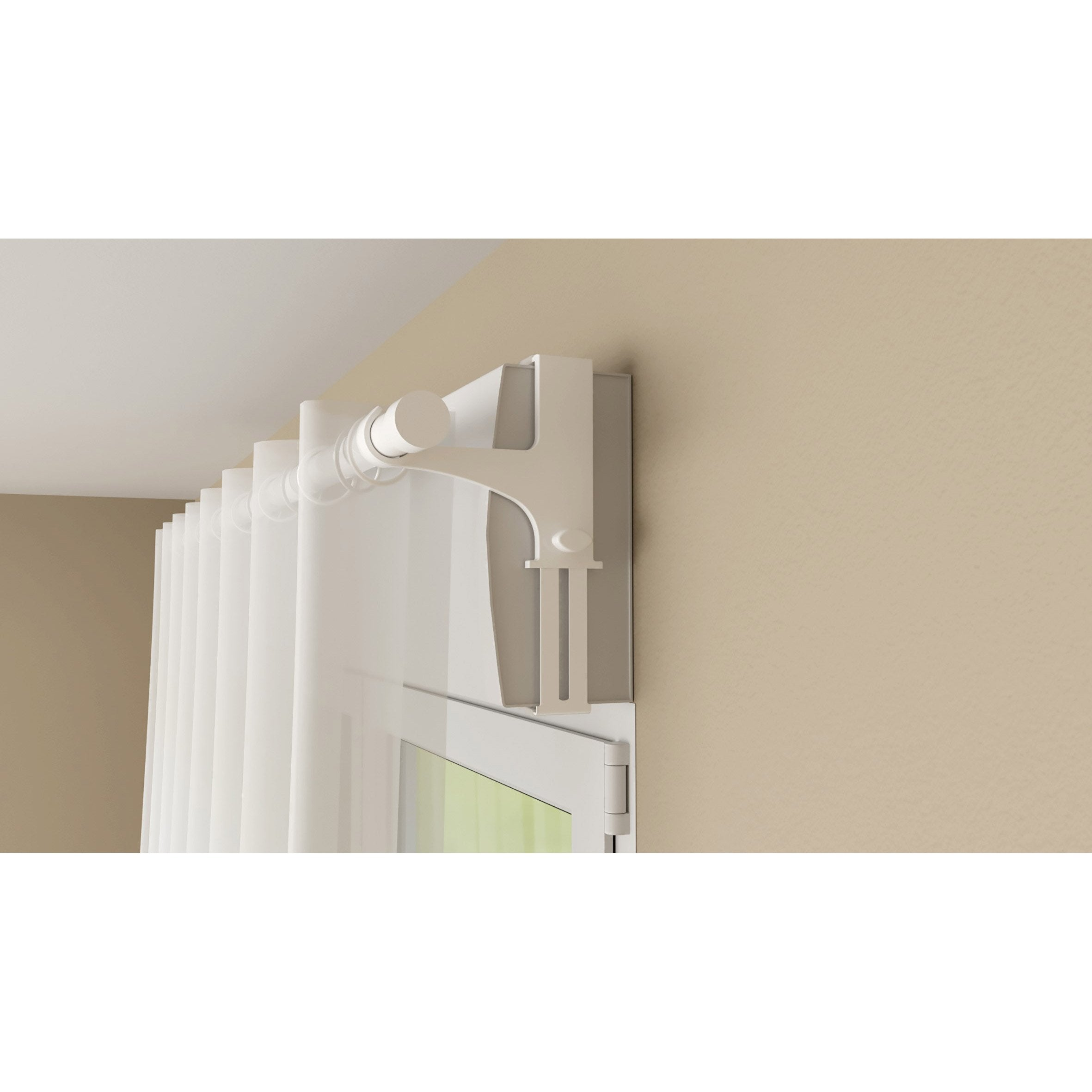 Support Tringle Sans Percage lot de 2 supports sans perçage barre à rideau caisson volet,20/28 mm blanc  laqué
