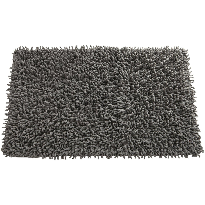 tapis de bain l70 x l44 cm gris galet n3 shaggy sensea - Tapis De Bain