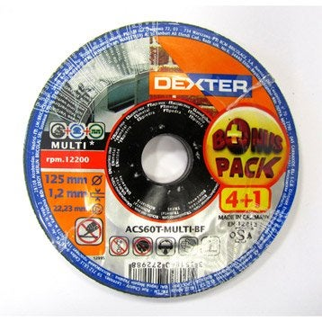 Lot 5 disques à tronçonner pour multimatière DEXTER, Diam.125 mm