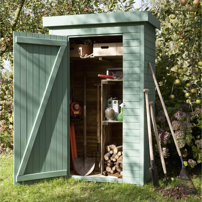 Armoire de jardin bois Helka naturelle, l.131 x H.197 x P.69 cm ...