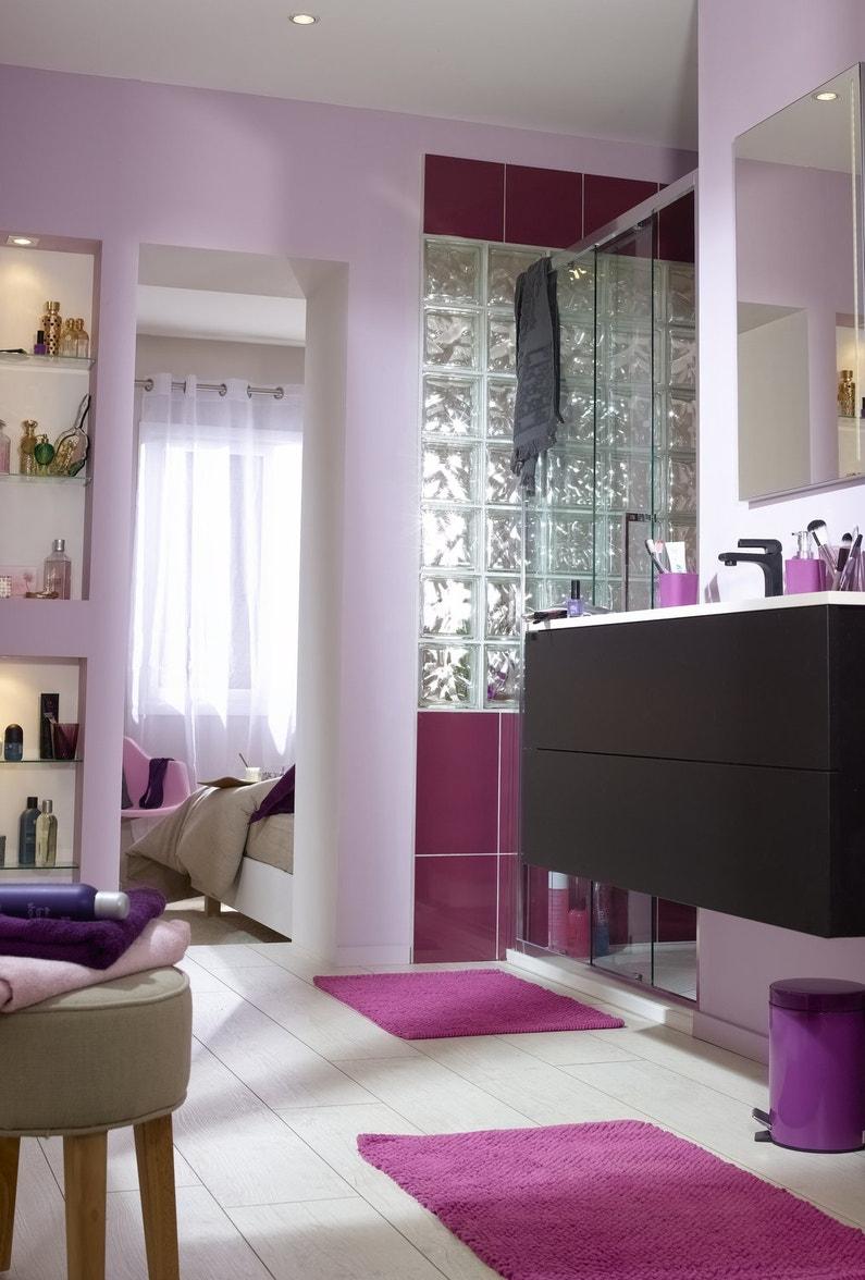 Des briques de verre dans votre salle de bains for Carrelage violet salle de bain