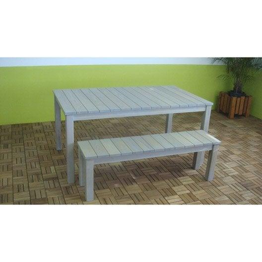Banc en bois de robinier gris clair dim 140x35x45cm for Banc de jardin en bois leroy merlin