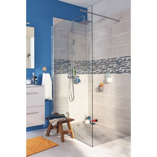 Paroi de douche l 39 italienne open 2 8mm profil chrom for Fabrication douche a l italienne