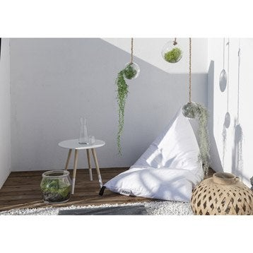 Pouf de jardin en tissu Berlingot blanc