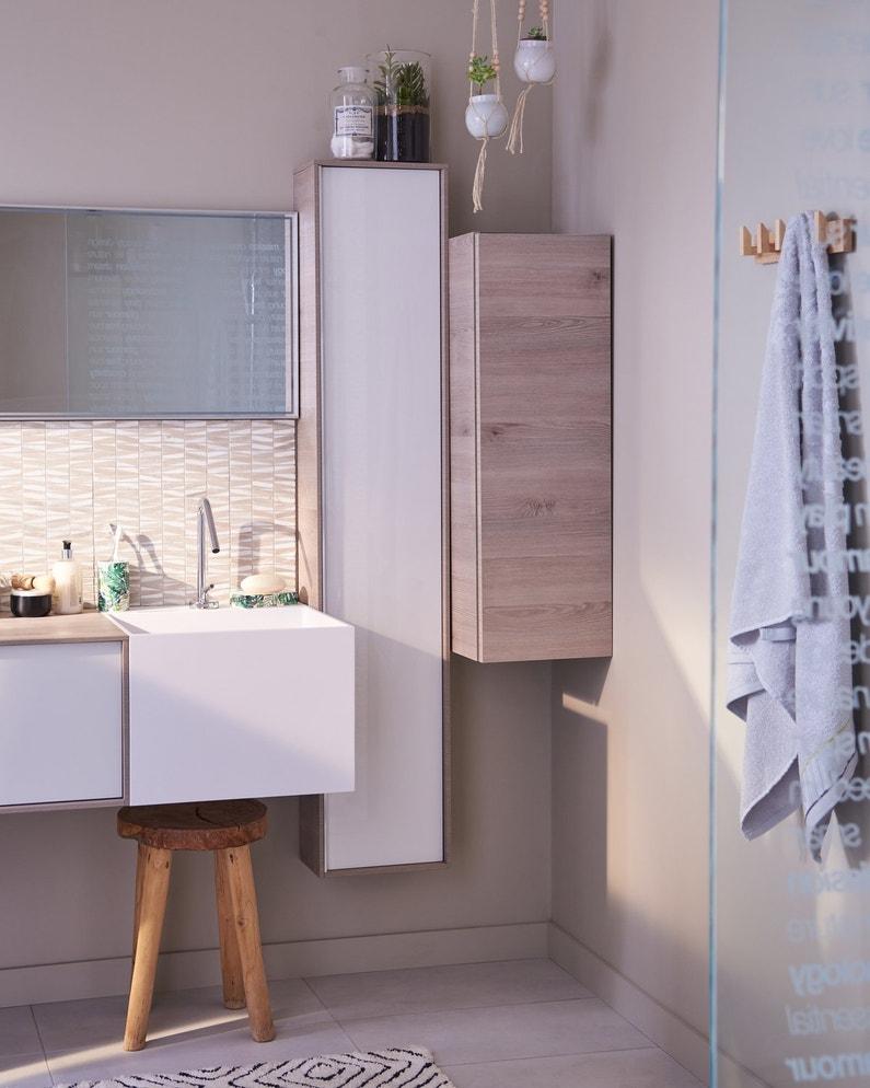 une salle de bains beige et blanche au style naturel leroy merlin. Black Bedroom Furniture Sets. Home Design Ideas