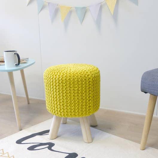 pouf tr pied tricot jaune x cm leroy merlin. Black Bedroom Furniture Sets. Home Design Ideas