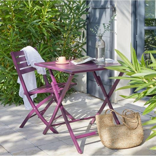 Salon de jardin Marius aluminium aubergine, 2 personnes | Leroy Merlin