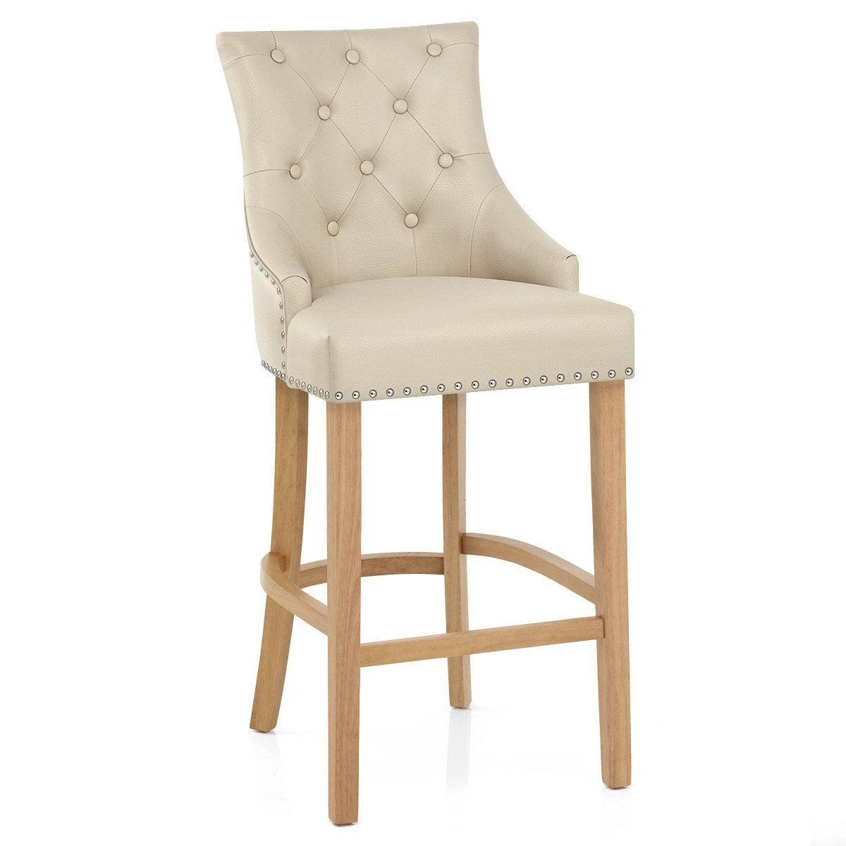 chaise de bar en cuir beige