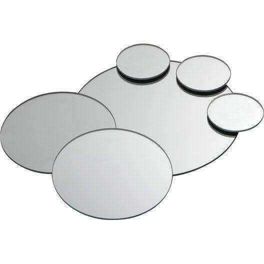 Coffret De 7 Miroirs Non Lumineux Adh Sifs Ronds X Cm Leroy Merlin