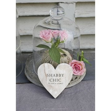 Toile imprim e cloche et roses coeur shabby chic 50x70 cm for Miroir 90x30