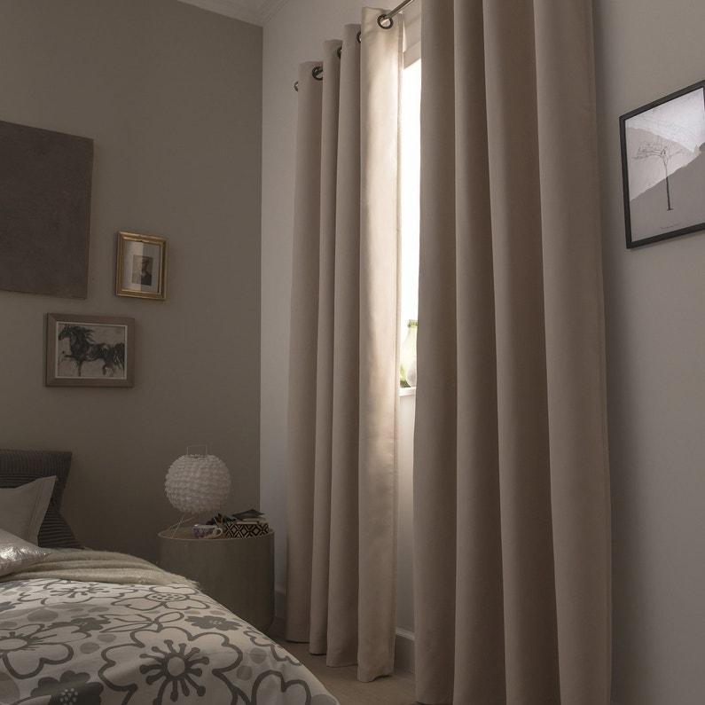 rideau occultant phonique marron clair x cm. Black Bedroom Furniture Sets. Home Design Ideas