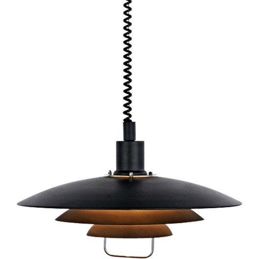 suspension scandinave kirkenes m tal noir 1 x 60 w markslojd leroy merlin. Black Bedroom Furniture Sets. Home Design Ideas