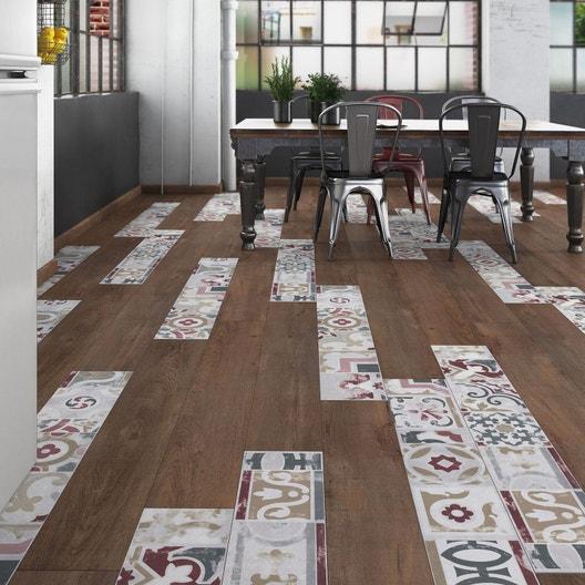 sol stratifi cr ativ 39 composition mix bois carreaux de ciment d cor kanpur leroy merlin. Black Bedroom Furniture Sets. Home Design Ideas