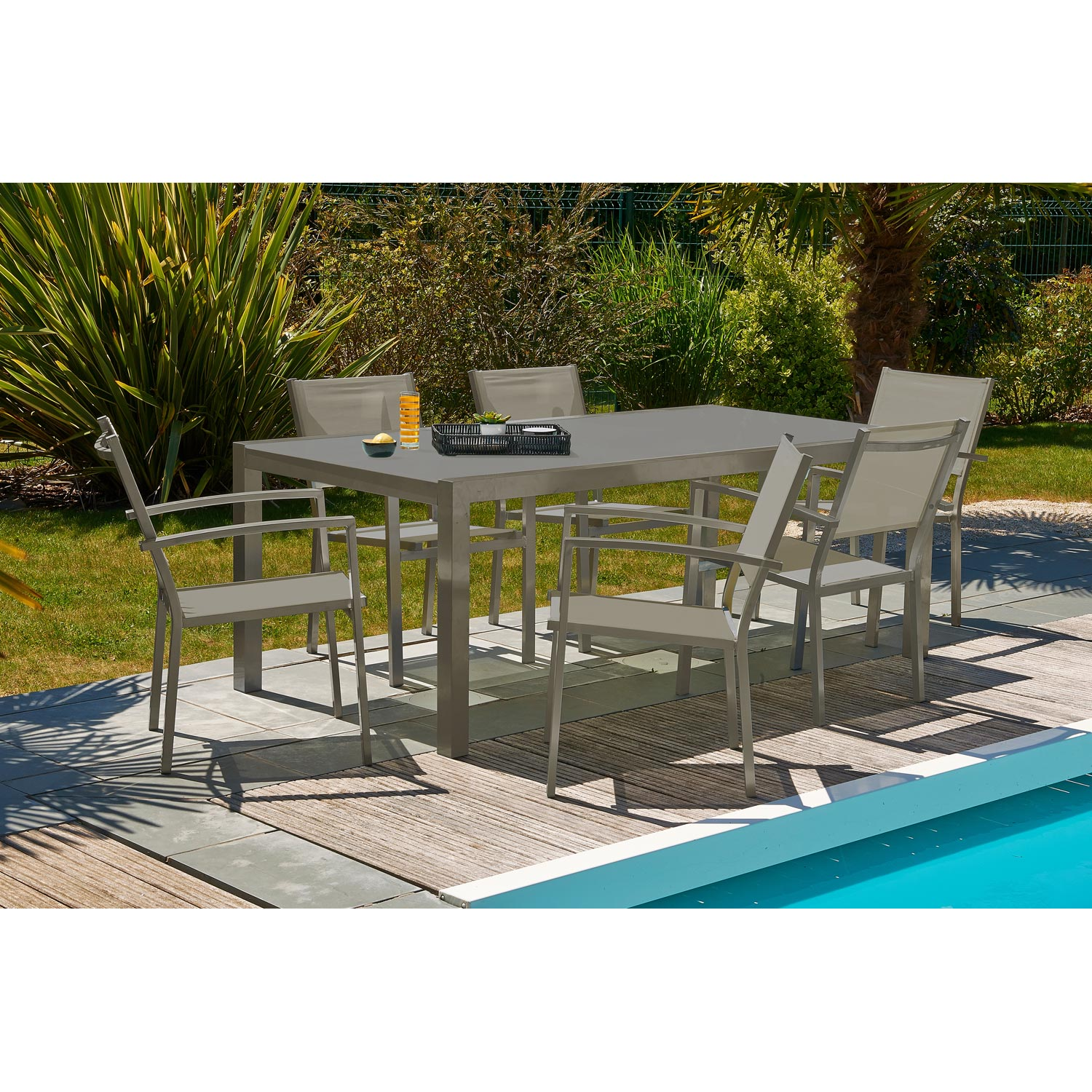 Salon de jardin London aluminium brun marron, 6 personnes | Leroy Merlin