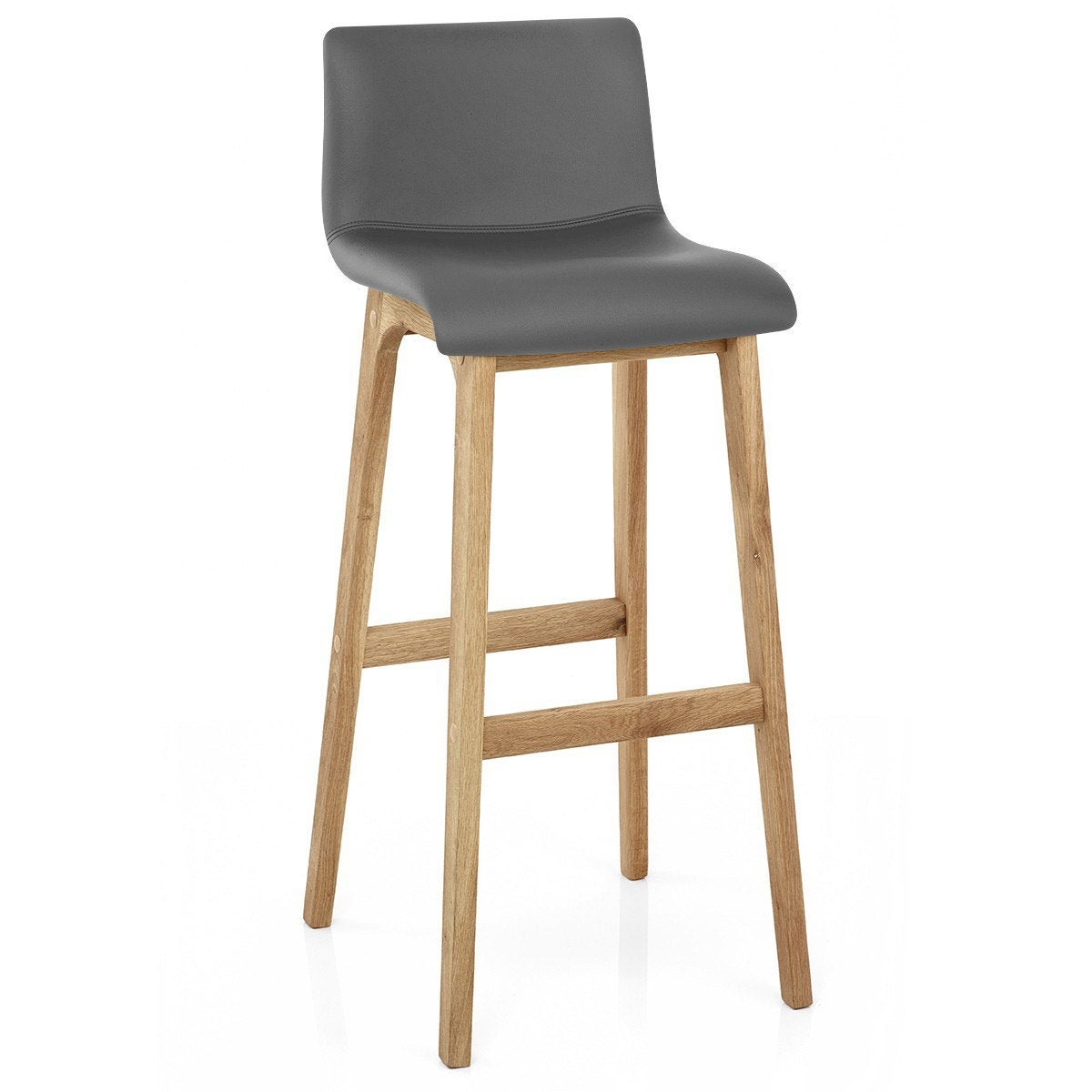Tabouret de bar nature, simili cuir, gris, Wave