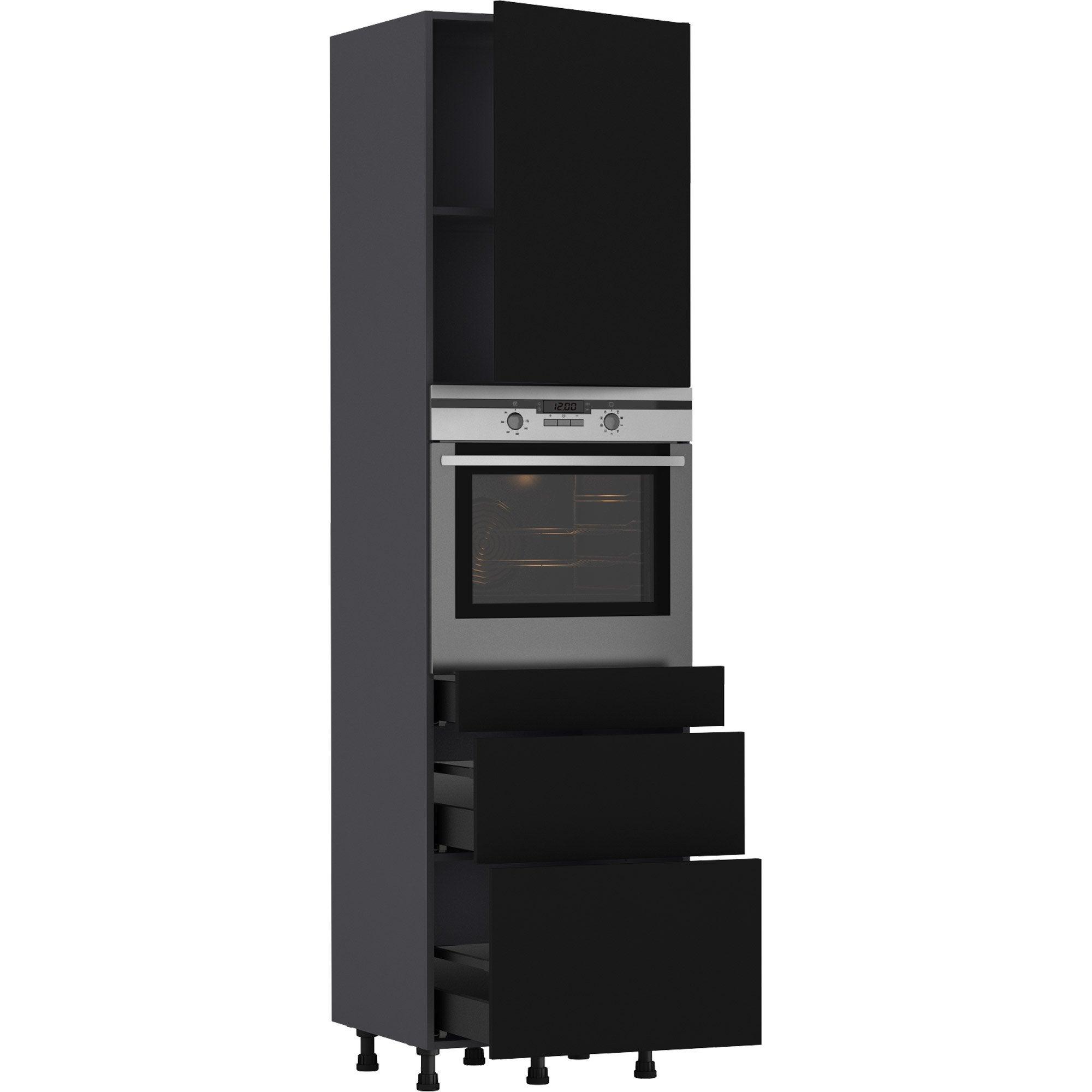 Colonne four de cuisine Sofia noir, 10 porte et 10 tiroirs H2105xl10