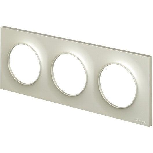 plaque triple odace schneider electric titane leroy merlin. Black Bedroom Furniture Sets. Home Design Ideas