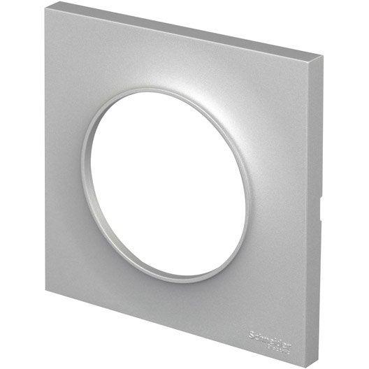 plaque simple odace schneider electric aluminium mat leroy merlin. Black Bedroom Furniture Sets. Home Design Ideas